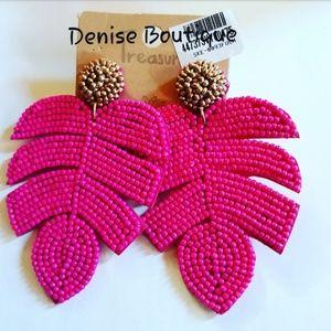 Tropical Leaf Dangle Earrings